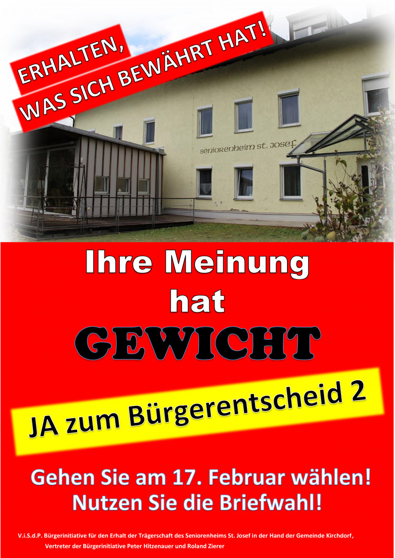 Plakat Bürgerentscheid zum Seniorenheim Kirchdorf
